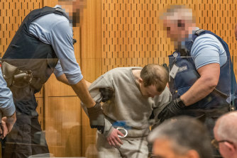 Christchurch mosque gunman Brenton Tarrant arrives in court on Wednesday.