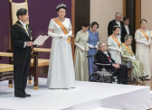 Naruhito makes his first address as emperor on May 1 with Masako by his side.