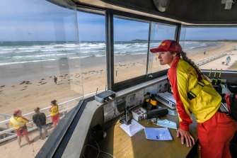 Lifeguard Gabrielle Hannan in the lookout tower at Ocean Grove.