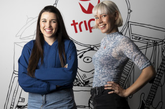 """""""First and foremost, we're musicians"""" New Triple J breakfast hosts Erica Mallett, left,  and Sally Coleman."""