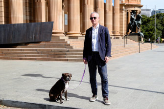 Locked out: Michael Brand outside a deserted Art Gallery of NSW.
