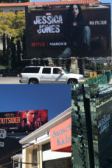 Netflix show ads adorn billboards in LA.