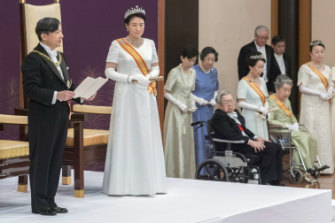 Naruhito makes his first address as emperor on May 1 with Masako returned to his side.