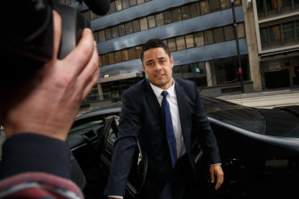 Jarryd Hayne arrives at Newcastle Local Court for the hearing on Wednesday.