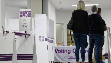 Citizens casting their ballots at a central Sydney voting centre on the first day of prepoll voting for the May federal election.