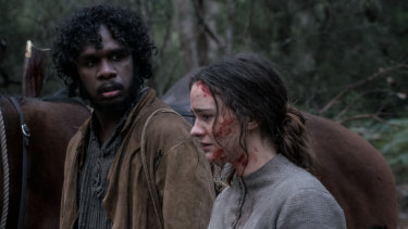 Baykali Ganambarr as Billy and Aisling Franciosi as Clare in Jennifer Kent's The Nightingale.