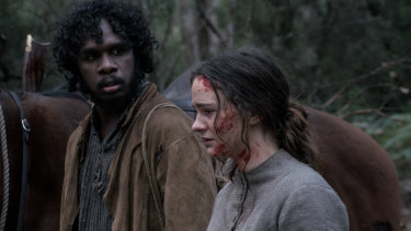 Baykali Ganambarr and Aisling Franciosi in The Nightingale.