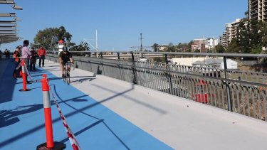 The Goodwill Bridge surface was too slippery for some cyclists.