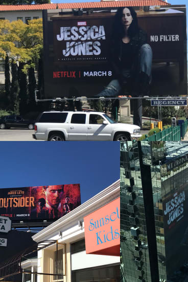 Netflix show ads adorn billboards in LA.