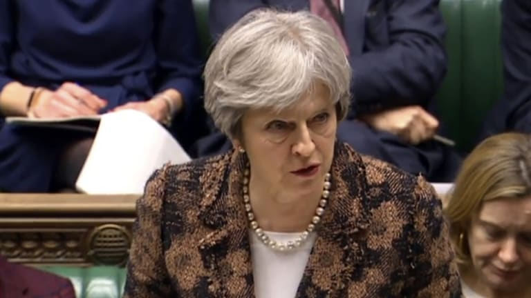 """Highly likely"" Theresa May speaks in the House of Commons in London."