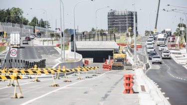 The entrance to the M4 East tunnels at Haberfield in Sydney's inner west.