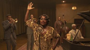Chadwick Boseman (from left), Colman Domingo, Viola Davis, Michael Potts and Glynn Turman in Ma Rainey's Black Bottom.
