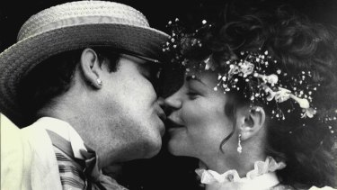 Elton John and Renate Blauel on their wedding day at Darling Point in 1984.