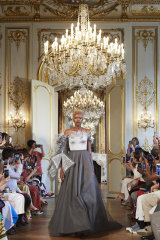 One of Aleem Yusuf's gowns on show in Paris.