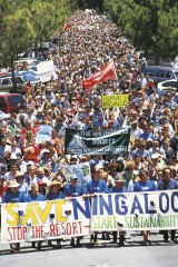 The rally filled the streets in Fremantle.