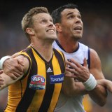Ryan Crowley on Sam Mitchell during the 2013 AFL grand final.