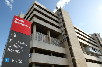 Sir Charles Gairdner Hospital's emergency department was running beyond capacity on Monday.