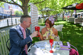John Pemberton and Cathy Bryson enjoy a drink at Southbank on Tuesday.