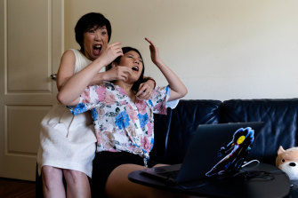 Akina Li and her mother, Ying Liu, react as Akina gets her 99.95 ATAR result.