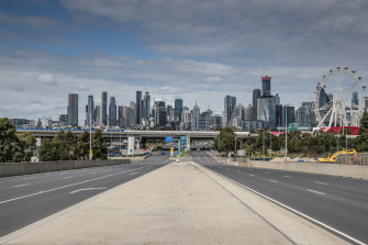Looking towards the skyline from Docklands.