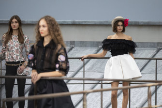 Model Kaia Gerber wears a creation as part of the Chanel Ready To Wear Spring-Summer 2020 collection, unveiled during the fashion week, in Paris, Tuesday, Oct. 1, 2019.