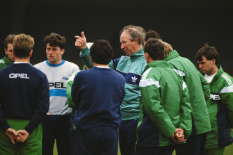 Jack Charlton makes a point during training.