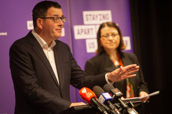 Premier Daniel Andrews and Health Minister Jenny Mikakos give an update on Sunday.