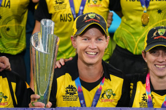 Meg Lanning, pictured with the Twenty20 World Cup trophy, is bound for the Stars.