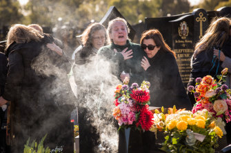 Courtney Herron's family and friends at a memorial service marking one year since her death.