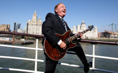 Liverpool singer Gerry Marsden in 2009 on board the Mersey ferry, which he made famous with his song, Ferry 'Cross the Mersey, with his band Gerry and the Pacemakers.