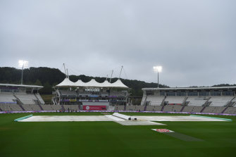 The floodlights were on in Southampton but so were the covers on day three of the second Test.