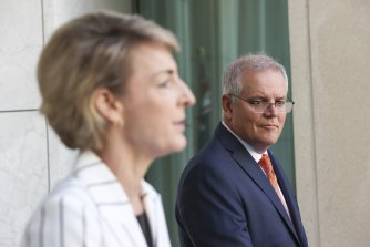 Attorney-General and Minister for Industrial Relations Michaelia Cash and Prime Minister Scott Morrison reveal the Roadmap For Respect in Canberra on Thursday.