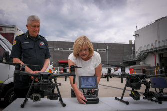 Emergency Services Minister Lisa Neville unveiled four new drones on Thursday.