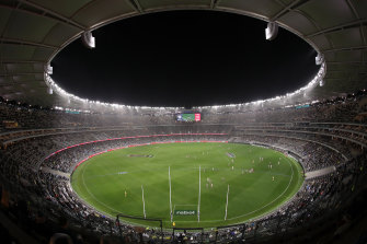 A limited number of fans are allowed into Perth's Optus Stadium.