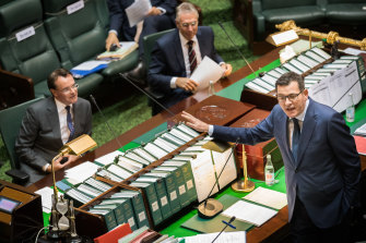 Premier Daniel Andrews and Opposition Leader Michael O'Brien exchanging barbs in the chamber in June.
