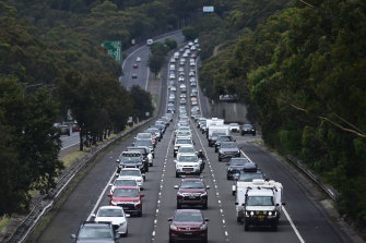 Heavy traffic on the M1 Pacific Motorway near Mount Colah on Boxing Day afternoon.