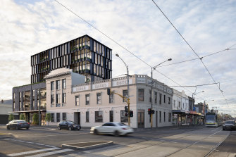 The Sarah Sands pub in Brunswick with an artist's impression of the yet-to-be-built apartments behind it.
