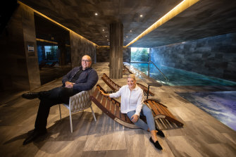 Leigh Boughton and Genevieve Carthy have upgraded to a new apartment with a shared pool.