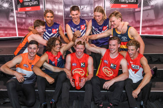 Top 10 round one draft picks: (back, left to right) Tom Green, Liam Henry, Caleb Serong, Hayden Young, Fischer McAsey, (front) Lachie Ash, Luke Jackson, Matt Rowell, Noah Anderson and Dylan Stephens.