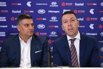 Macarthur FC chairman Gino Marra and Campbelltown mayor George Brticevic speak at the press conference in which the A-League expansion bid was approved.