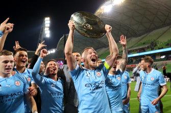 Melbourne City captain Scott Jamieson celebrates his side's A-League premiership triumph last weekend.