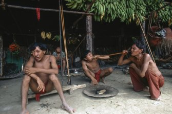 A group of Yanomami men.