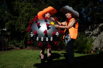 Jenny Mann, left, and Kathy Sant are honouring Australia's COVID marshals in this year's Sydney Gay and Lesbian Mardi Gras.