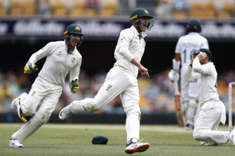 Marnus Labuschagne of Australia celebrates after claiming a catch off Muhammad Rizwan of Pakistan before it was reviewed and judged not out during day four of the Test between Australia and Pakistan at the Gabba.