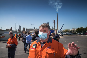 Crane operator Gavin Carney speaks after the announcement that the Altona fuel refinery will close.
