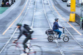Bike paths in Melbourne's CBD. The city has fast-tracked some 40 kilometres of bike lanes.
