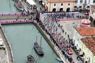 The peloton in action in the 12th stage of the Giro, from Cesenatico.