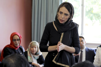 Jacinda Ardern visits members of Christchurch's Muslim community after the attack.