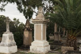 Run down: The unrestored sandstone pedestal with urn at the memorial to David Jones.