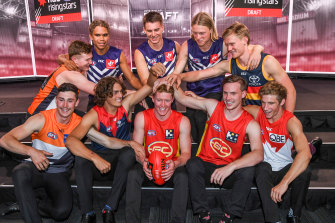 Top 10 of 2019: (back, left to right) Tom Green, Liam Henry, Caleb Serong, Hayden Young, Fischer McAsey, (front) Lachie Ash, Luke Jackson, Matt Rowell, Noah Anderson and Dylan Stephens.